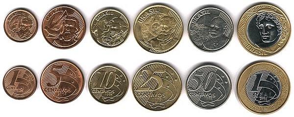 бразильский реал монеты